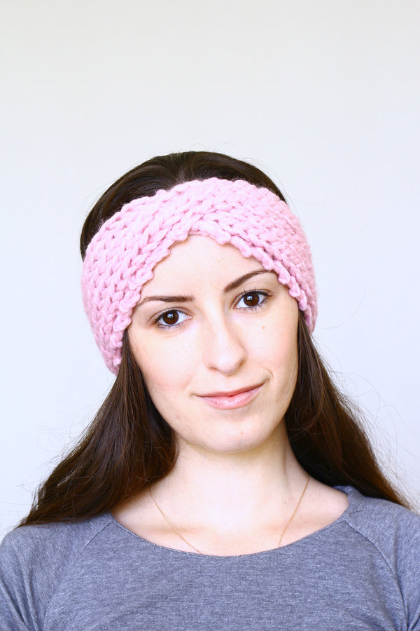 Knit headband ear warmer, running headband for women - Soft pink