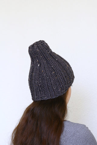 Knit beanie hat, ski hat in dark grey color