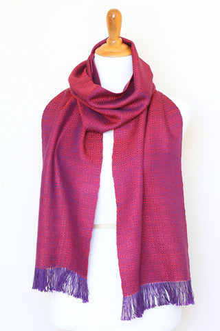 Woven scarf in red and purple color, eucalyptus scarf with fringe