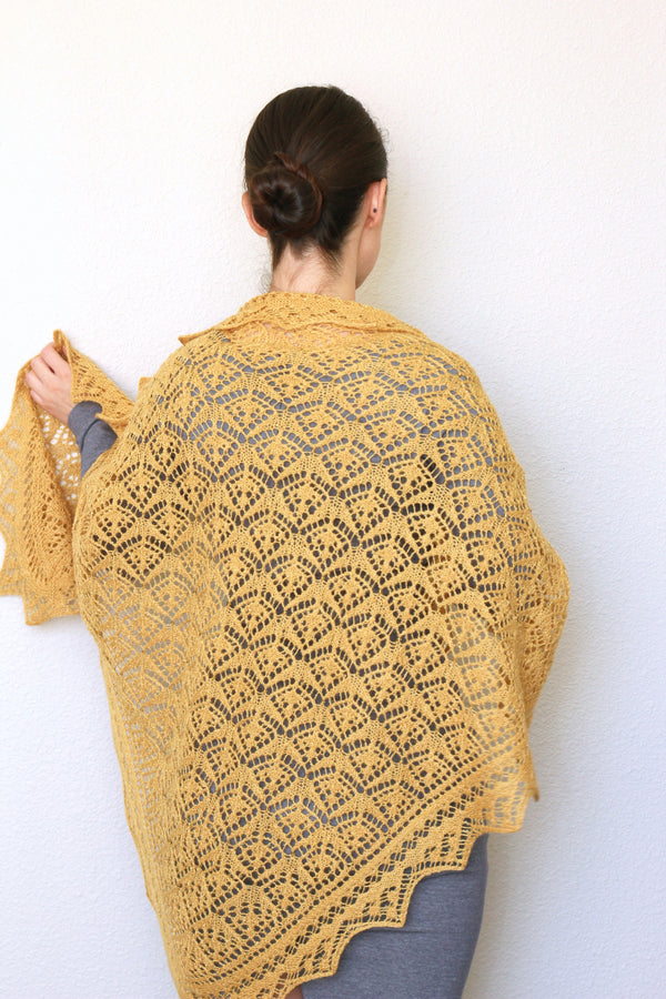 Knit shawl, wedding shawl in mustard yellow color, bridesmaids shawl, bridal shawl