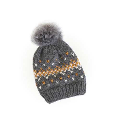 Knit Beanie Hat with Faux Fur Pom - Fair Isle Dark Grey Hat