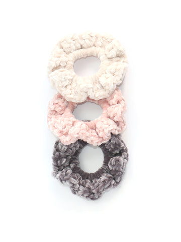 Crochet Velvet Scrunchie, Messy Bun Scrunchies - Set of 3 Scrunchies, Crochet Hair Band