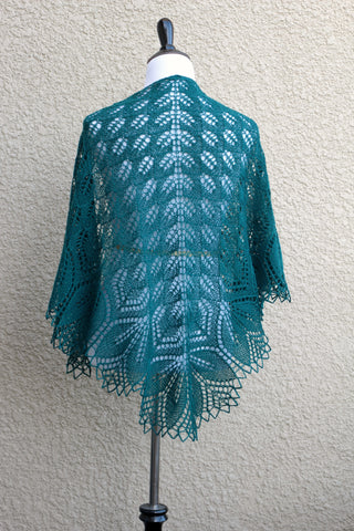Emerald green knit shawl
