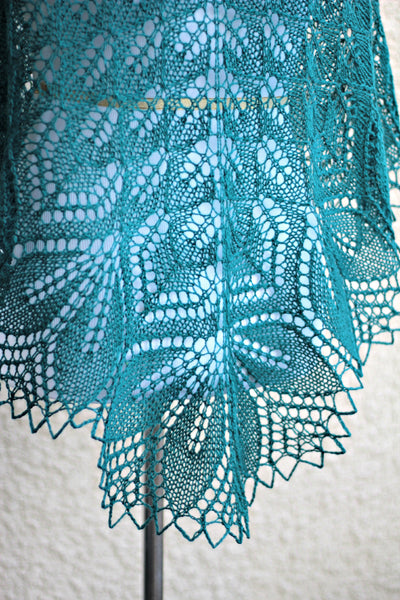 Teal lace shawl