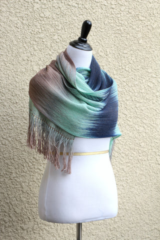 Woven scarf in mint, beige and blue colors