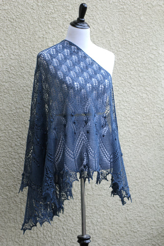Knit lace shawl in grey blue color with nupps