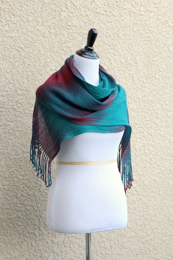 Woven scarf in dark teal, burgundy and red colors, gift for her