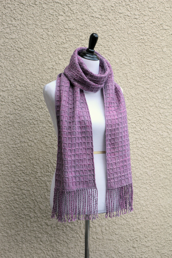 Hand woven scarf in lilac violet colors with waffle pattern
