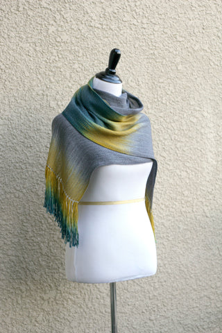 Grey and mustard woven wrap