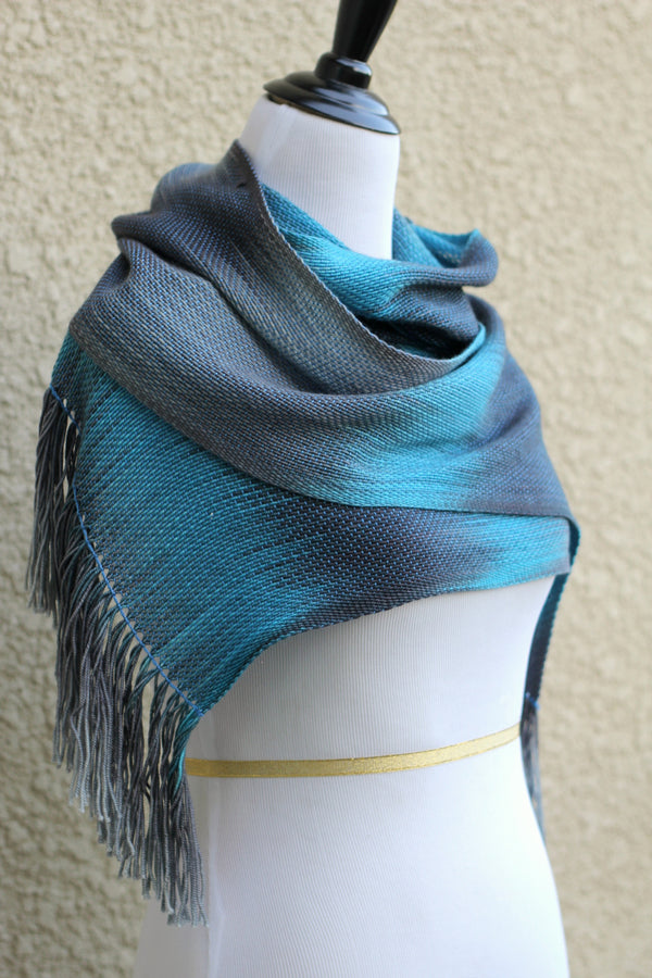 Blue and grey wrap