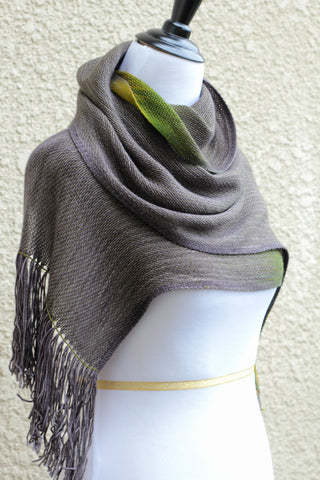 Woven scarf in dark grey and moss green, mustard colors, unisex scarf