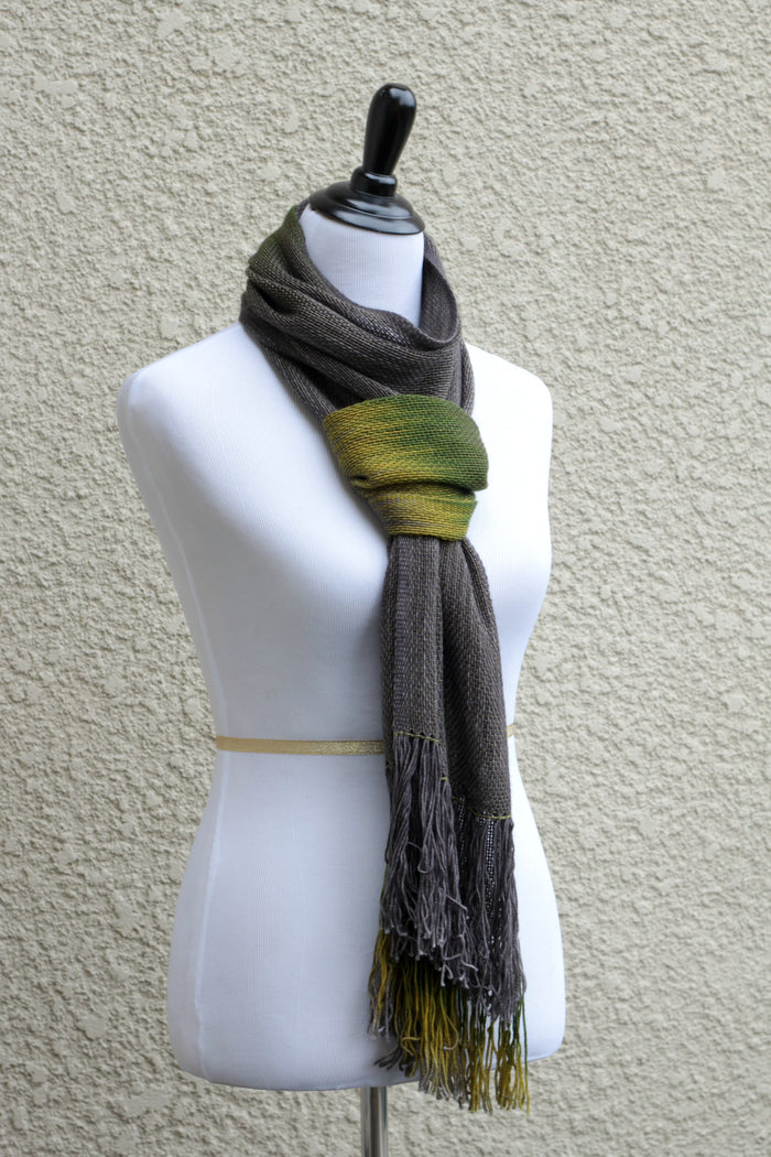 Woven scarf in dark grey and moss green, mustard colors ...