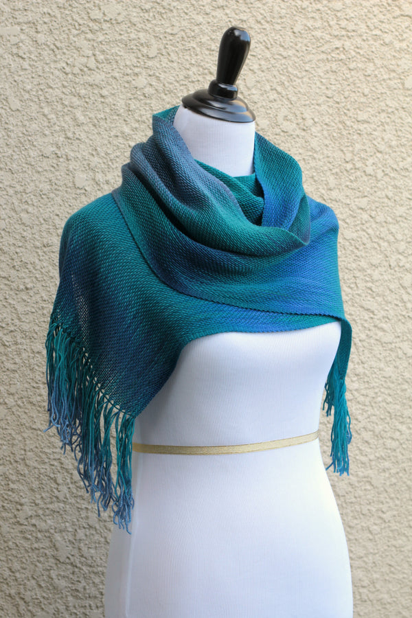Blue and green woven scarf