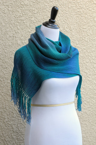 Woven scarf in blue, green, teal and violet colors, gift for her