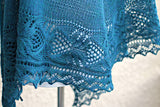 Teal knit shawl woth lace edge