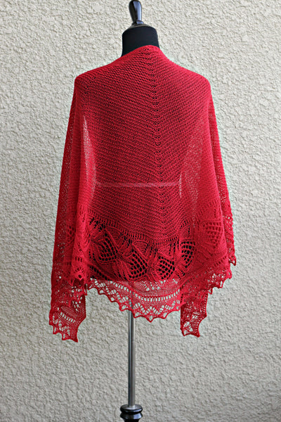 Knit red shawl