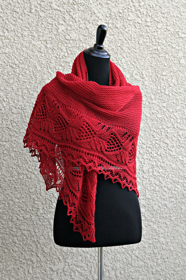 Red knit wrap with lace