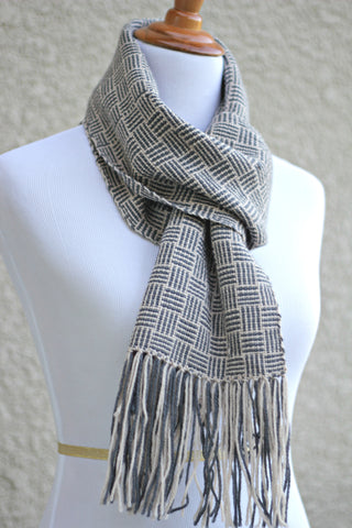 Woven scarf in beige and grey colors gift for him, gift for her
