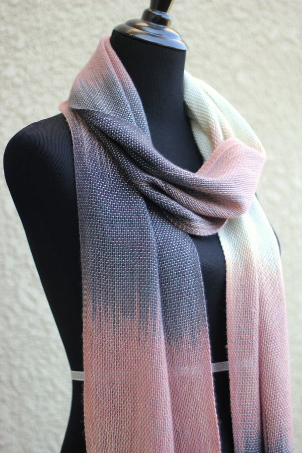 Hand woven long scarf gradient color pink cream dark grey blanket scarf with fringe