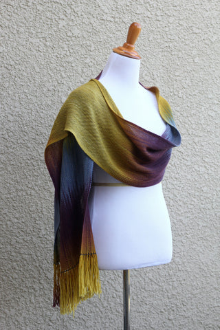 Mustard and purple scarf