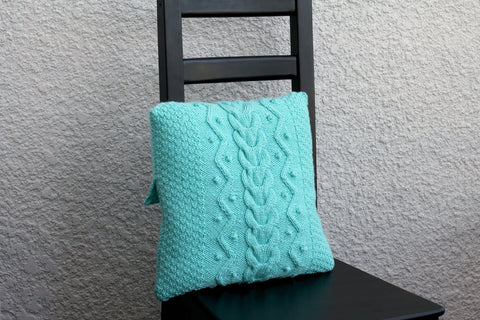 Knit kit, DIY knitting kit for knitted pillow, learn to knit pillowcase knitting tutorial