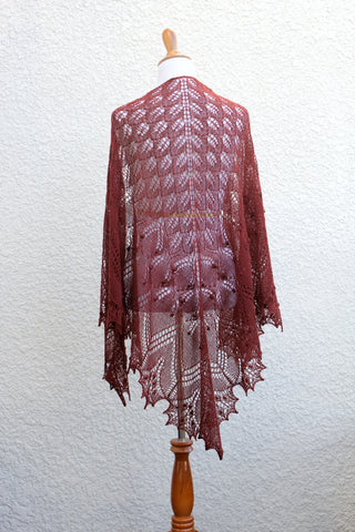 Knit lace shawl in brown coffee color with nupps