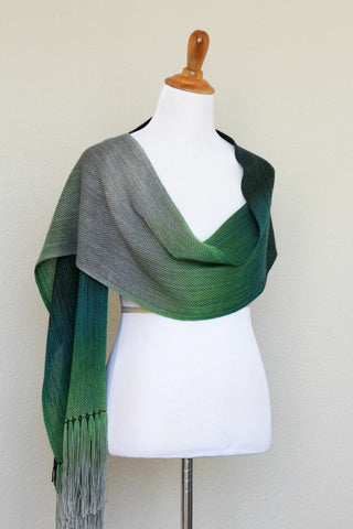 Woven scarf in green and grey colors, woven wrap