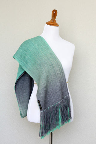 Woven scarf in mint green and grey colors, woven wrap
