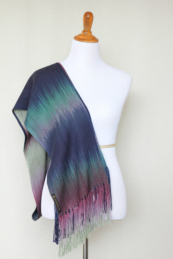 Woven scarf in purple, navy and green colors, gift for her