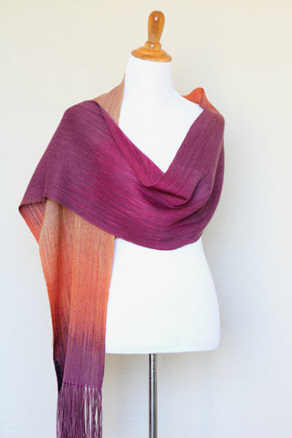 Woven scarf in fuchsia, orange and beige colors, gift for her