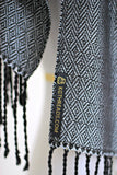 Woven scarf in silver color with twill pattern, long scarf with fringe