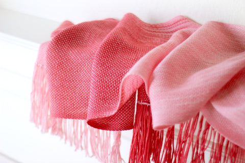 Pink red woven scarf
