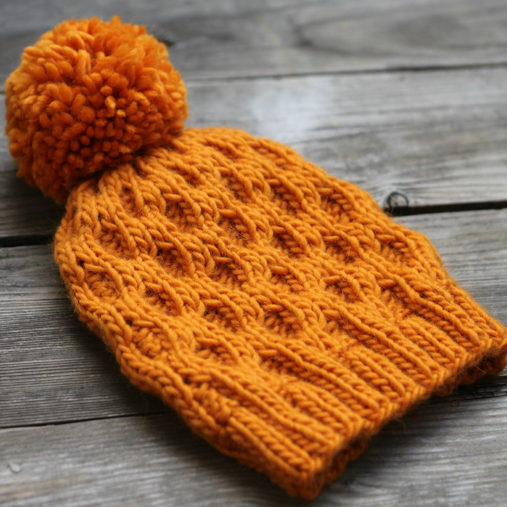 Knit hat pattern honeycomb hat winter PDF – KGThreads
