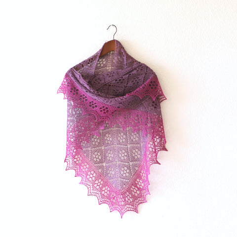 Purple pink lace shawl