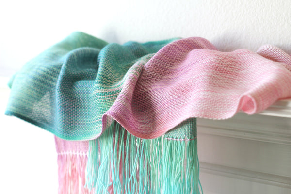 Pink and green scarf