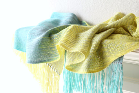 Yellow and blue woven scarf