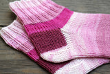 Knit socks in pink striped wool, women socks