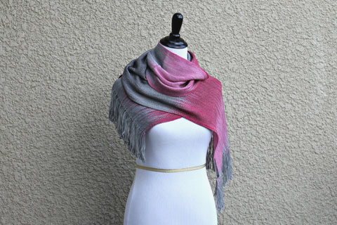 Woven pink and grey scarf