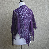 Knit shawl in purple color, lace shawl, gift for her