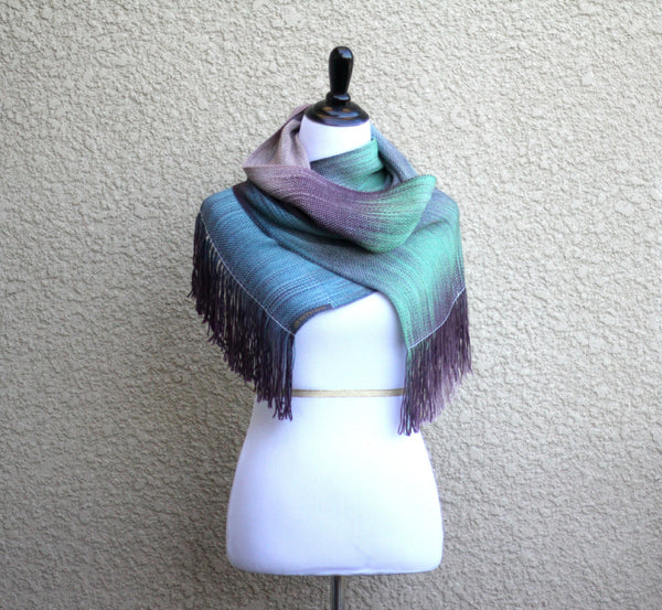 Blue and green scarf