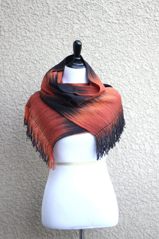 Black orange pashmina scarf