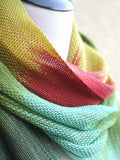 Hand woven long scarf gradient color green mint yellow red with fringe