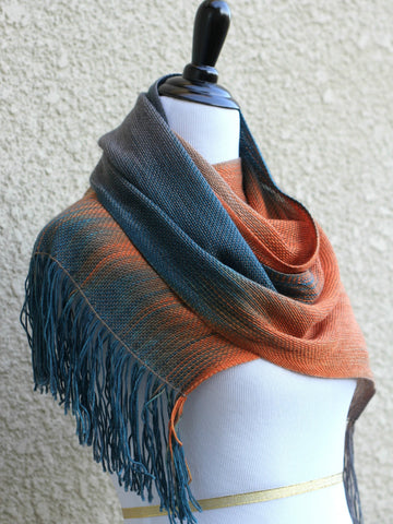 Woven scarf in teal, orange and beige colors, gift or her