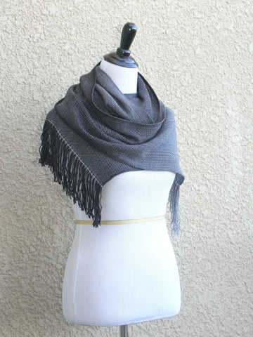 Hand woven scarf in black and grey colors, gift for him
