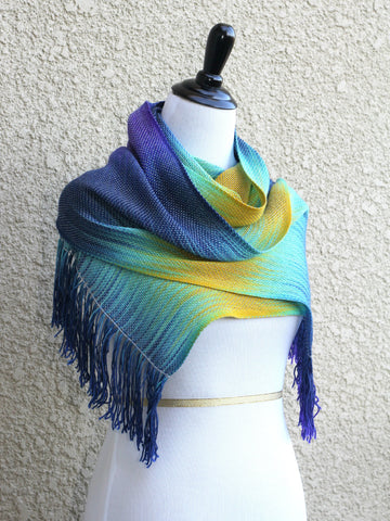 Blue and yellow scarf