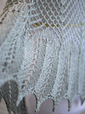 Knit lace shawl in olive green color, laced shawl, gift for her