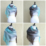 Woven scarf in blue and chocolate colors, gift for her