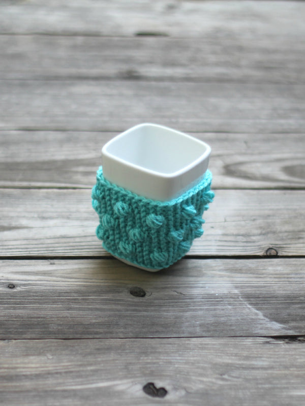 Knit mug cozy with nupps aqua turquoise cup cozy, bobbles cup cozy knitted cup cozy