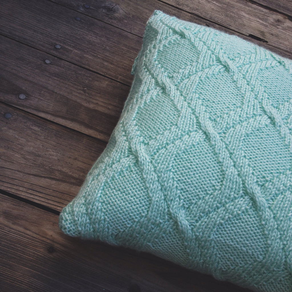 Knitting Household Items : Knit cable pillow case in mint color for home decor