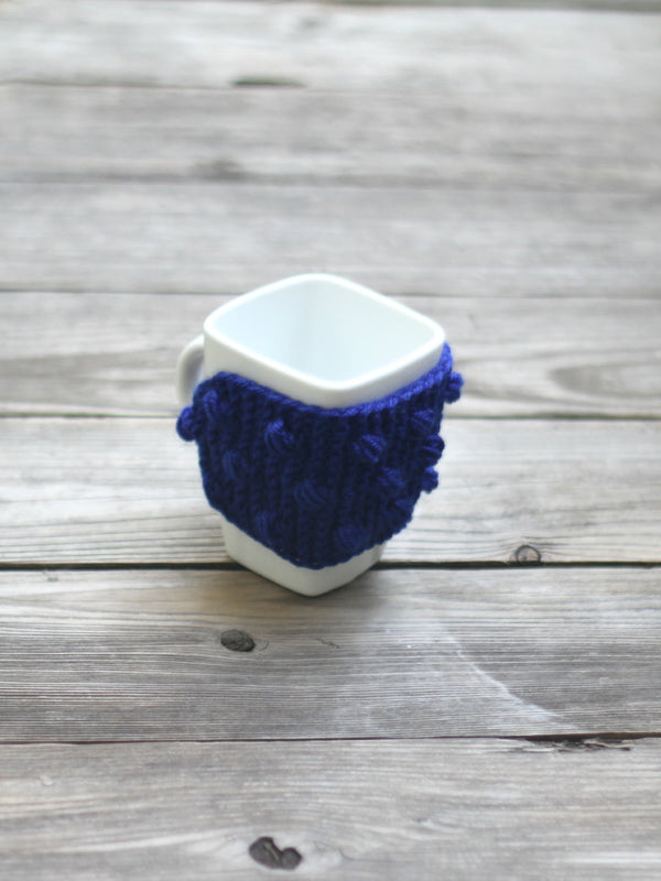 Knit mug cozy with nupps navy blue dark blue cup cozy, bobbles cup cozy knitted cup cozy